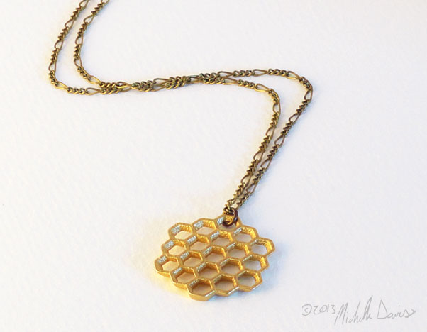 Honeycomb gold pendant with chain by Michelle Davis