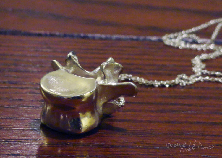 L3 vertebra pendant in perspective photo by michelle davis