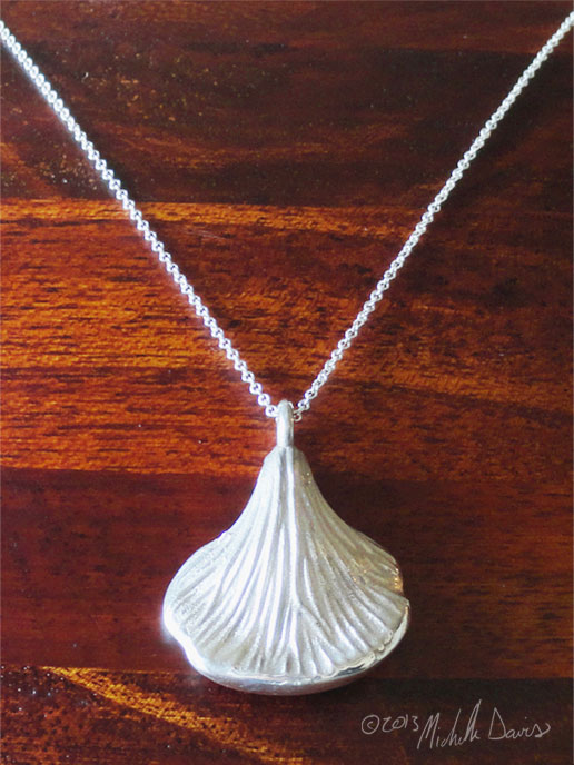Oyster mushroom pendant in silver by Michelle Davis