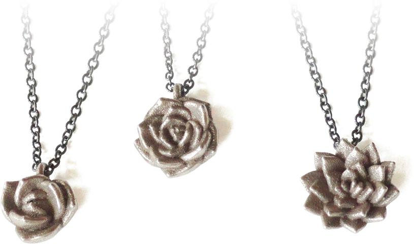 Stainless steel succulent pendants by michelle davis