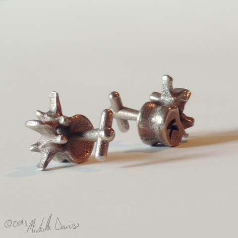 photo of L3 lumbar vertebra cufflinks pair by Michelle Davis