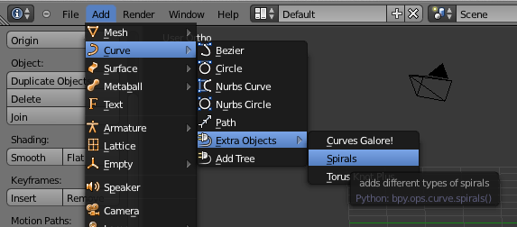 image of curve add on options in blender