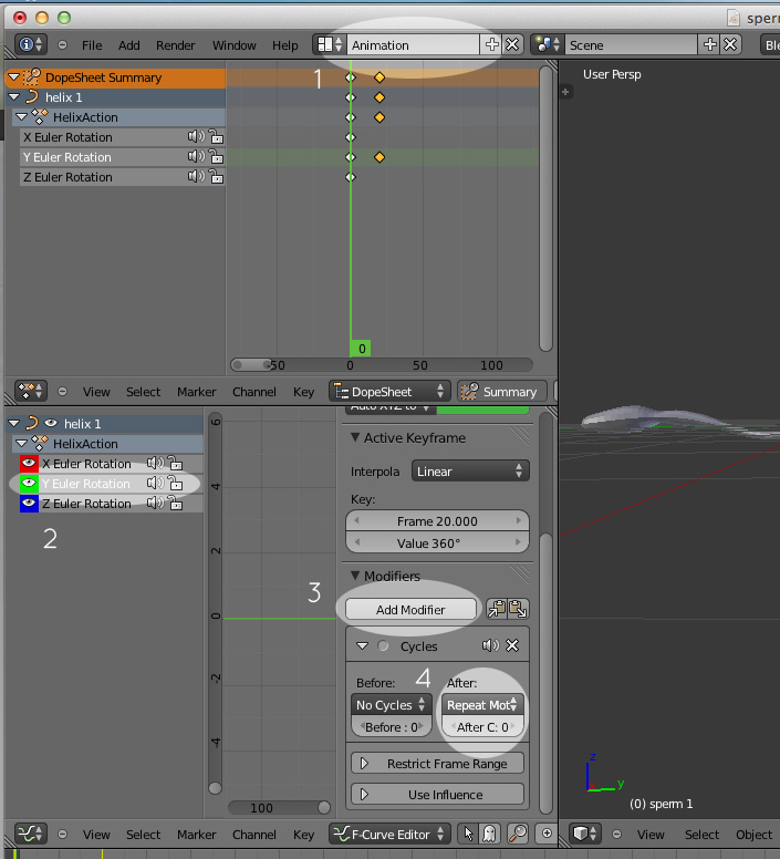 image of cycling keyframes in blender