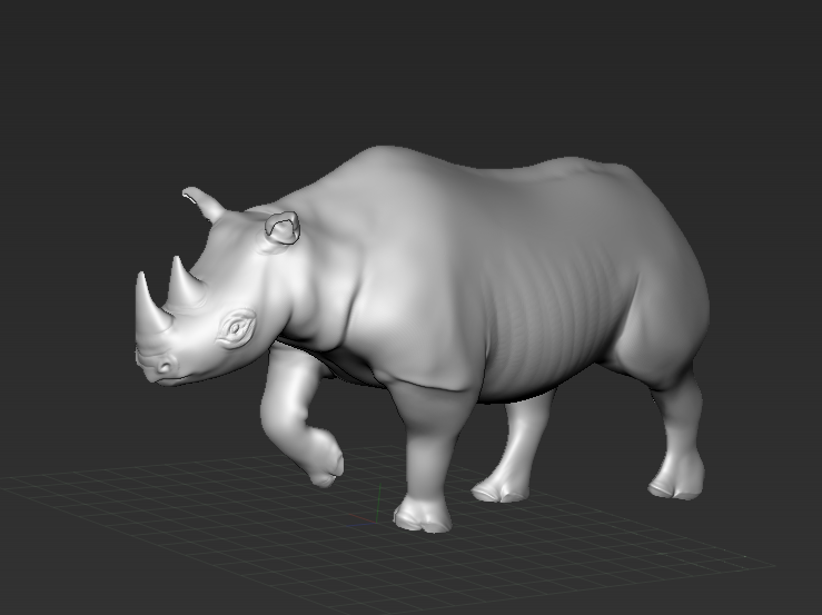 posed rhino sculpt by Michelle Davis