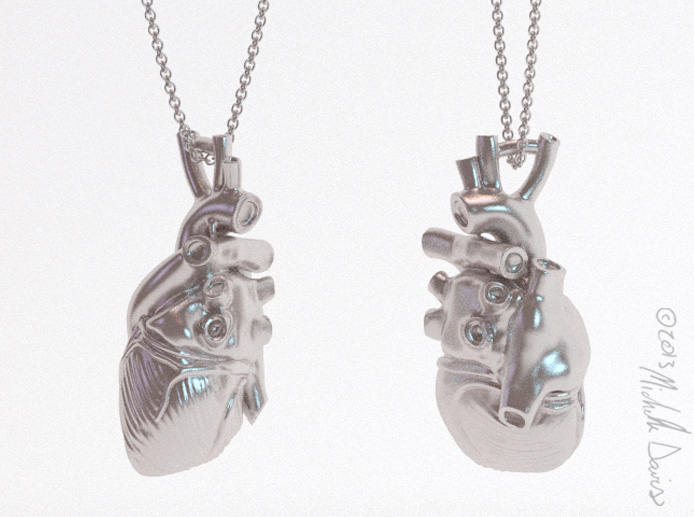 Updated heart anatomical model for cufflinks and pendants