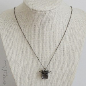 black steel lumbar vertebra pendant & necklace