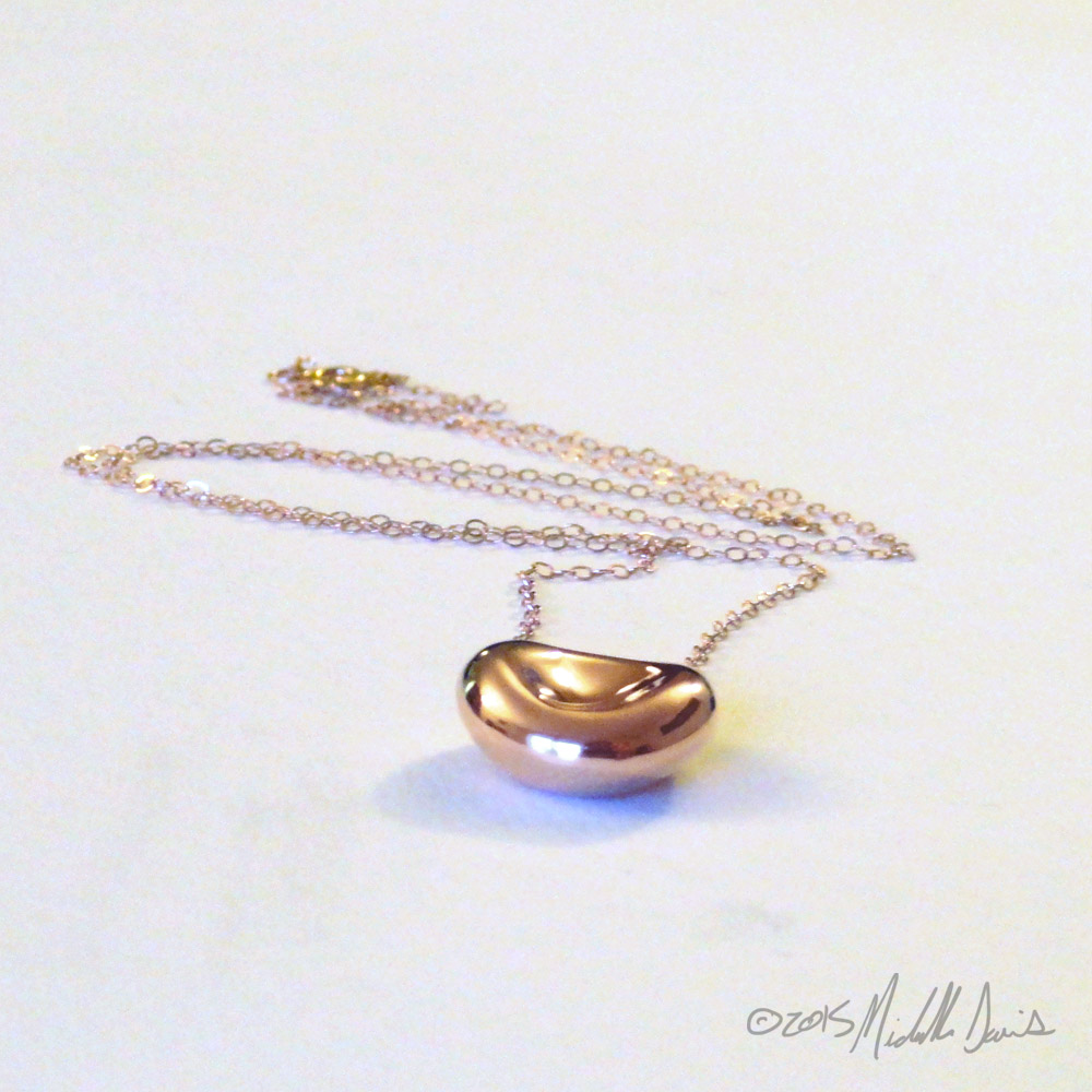 rose gold plated red blood cell pendant designed by Michelle Davis